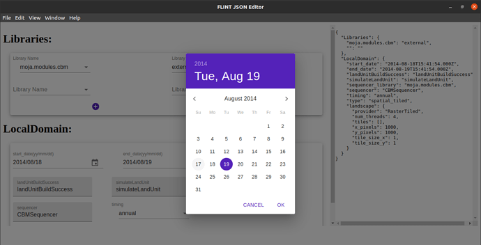 Illustartion of LocalDomain.json showing the DatePicker as a widget